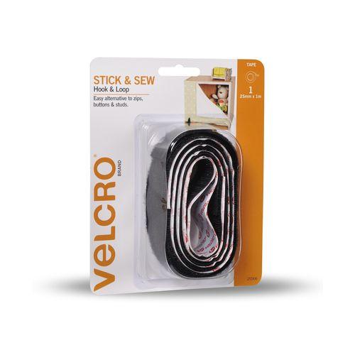 VELCRO® Brand 25mm x 1m Black Stick And Sew Tape