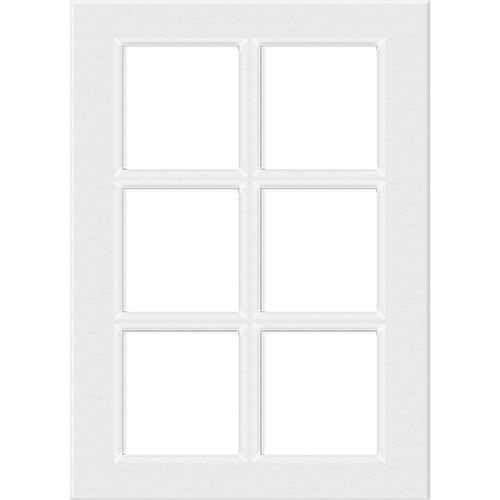 Kaboodle 400mm 6 Panel Glass Cabinet Door - Gloss White