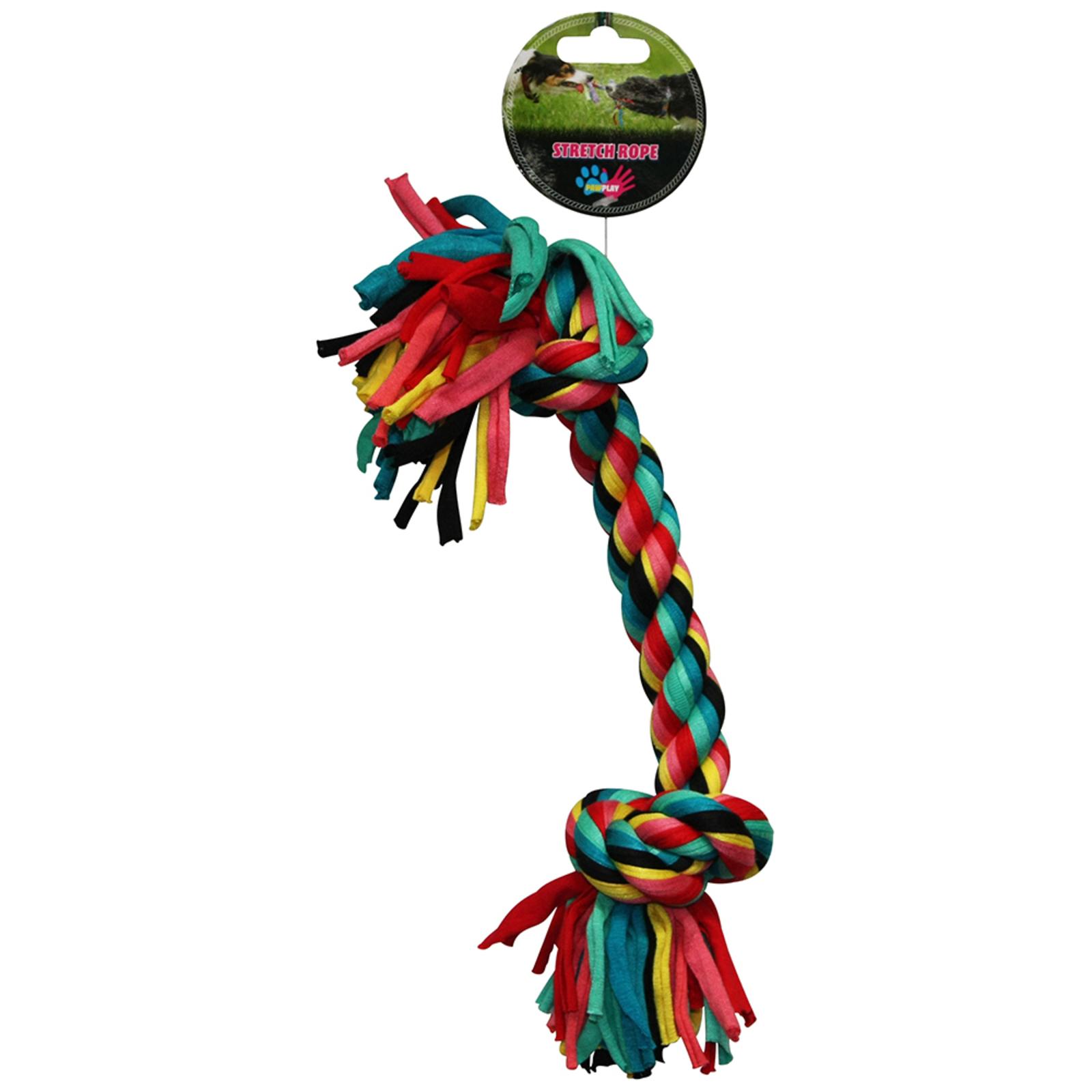 Paw Play 36cm Stretch Bone Rope Cotton Knots/Braided Teeth Clean Tug War Dog Toy