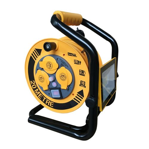 CordTech 20m 3 Socket Heavy Duty Light And Cable Reel