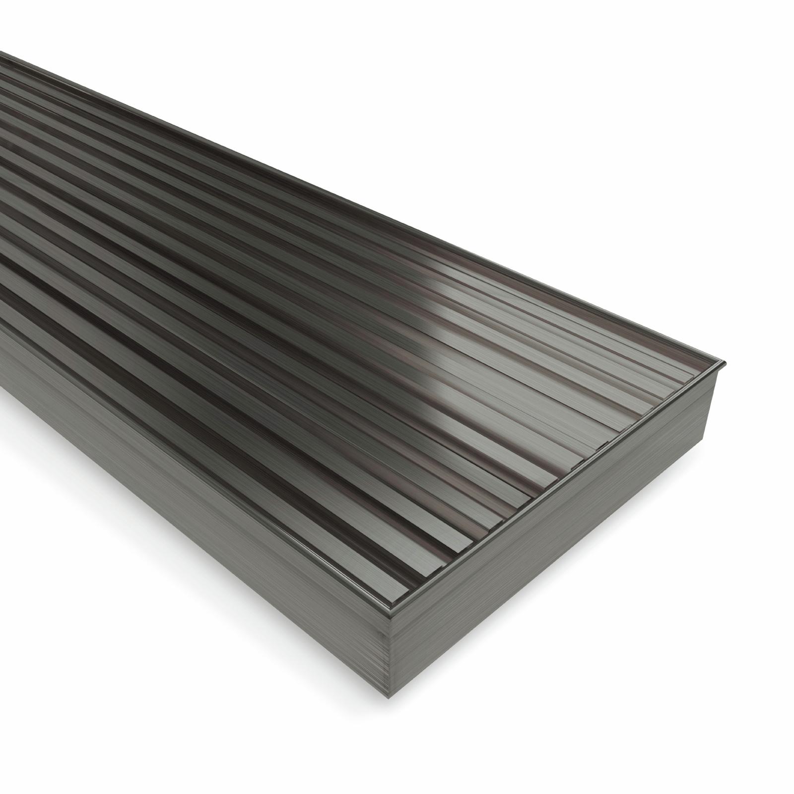 Forme 1000 × 100mm Brushed Gun Metal Grey PVD Stainless Steel Mesh Floor Waste