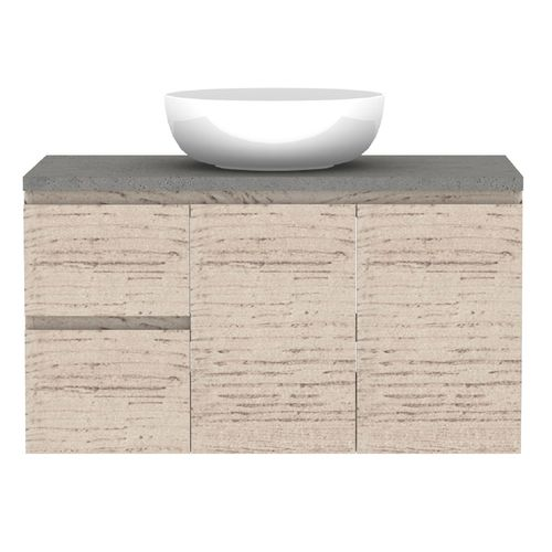 Forme 900mm Mont Albert Wall Hung Vanity With Cement Stone Top And Atom Basin - LH Drawers - Light Ash