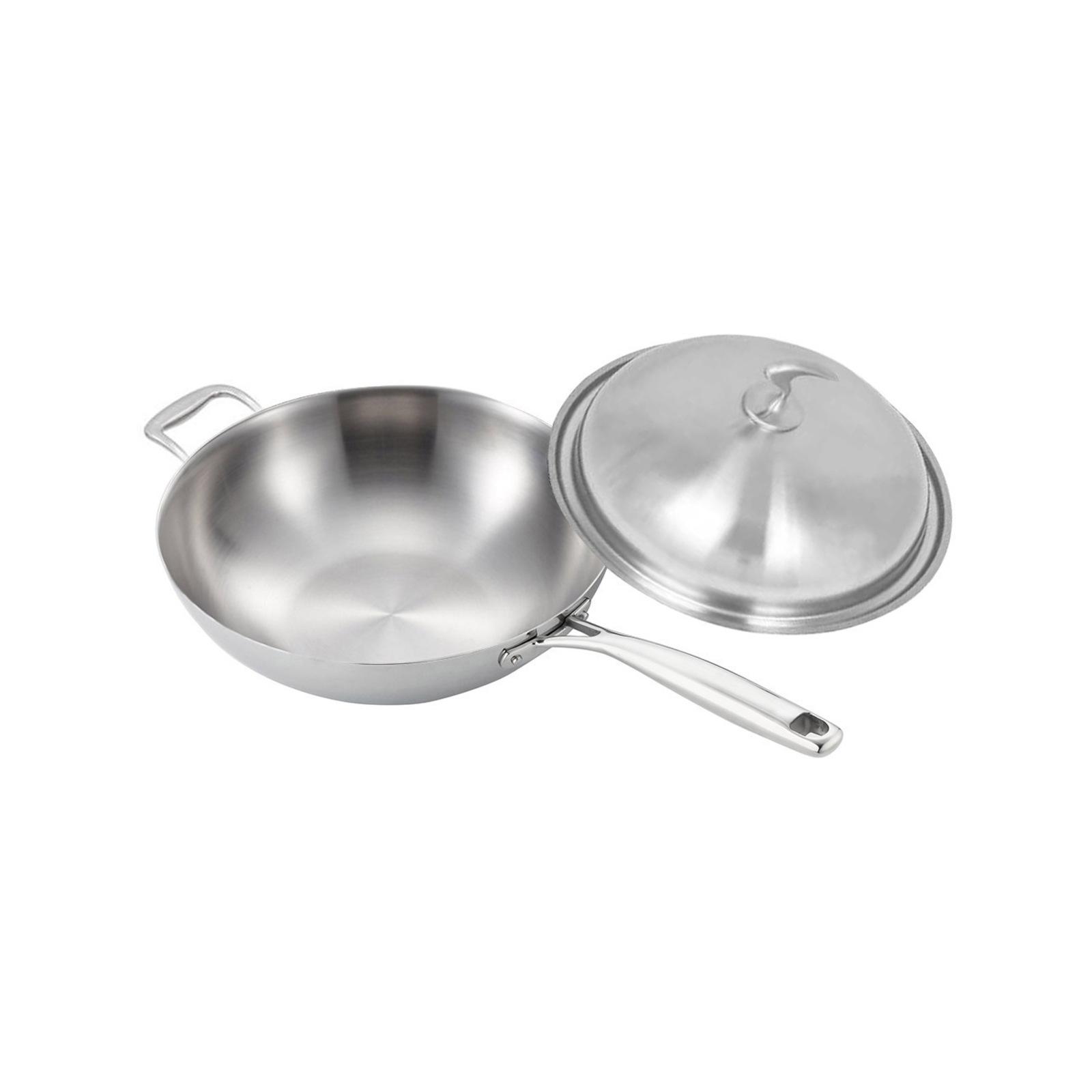SOGA 18/10 Stainless Steel Fry Pan 34cm Frying Pan Top Grade Skillet with Helper Handle and Lid