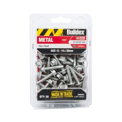 Buildex 12-14 x 30mm Climaseal Hex Head Metal Tek Screws - 50 Pack