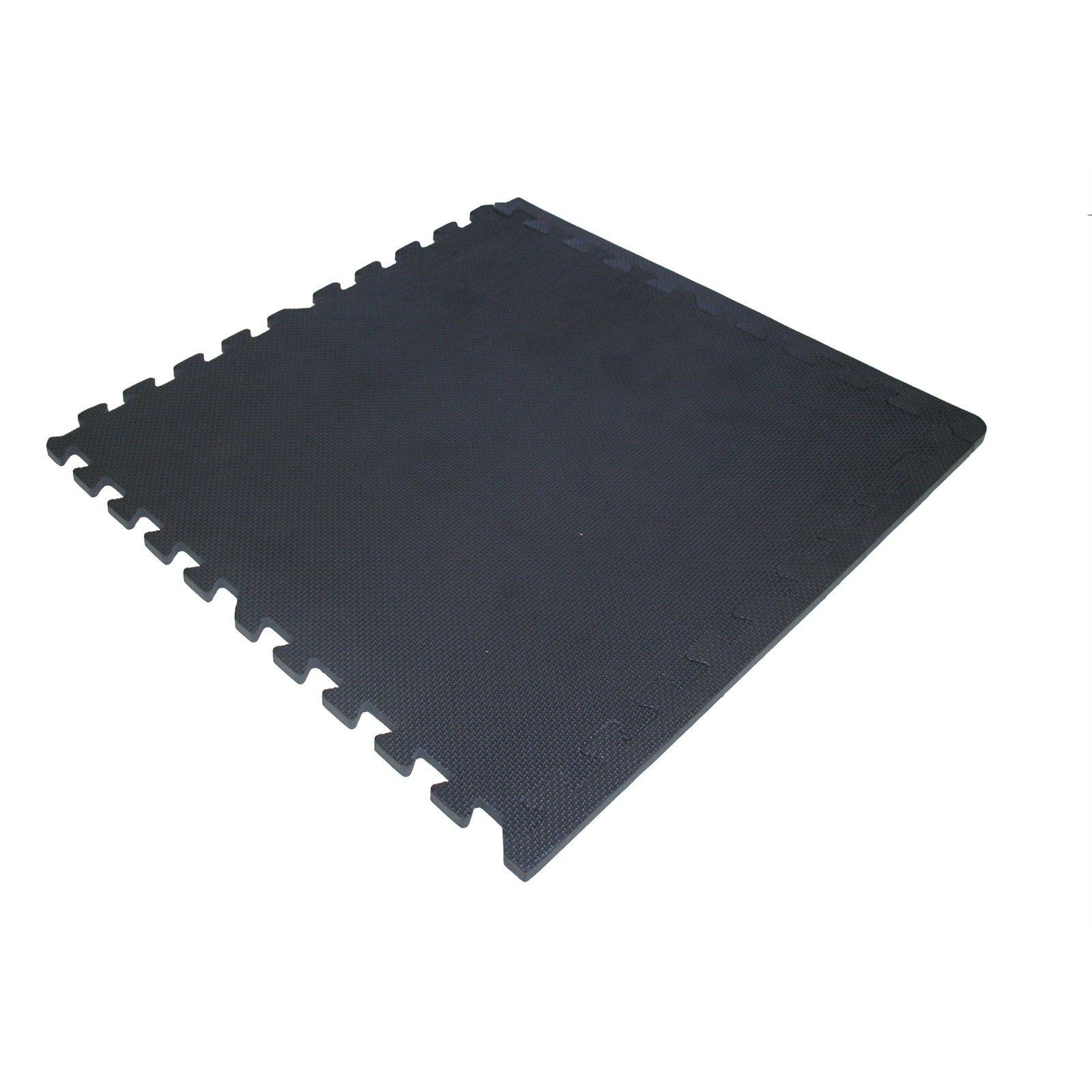 EVA 50 x 50cm Interlock Foam Mats Solid Black Pk4