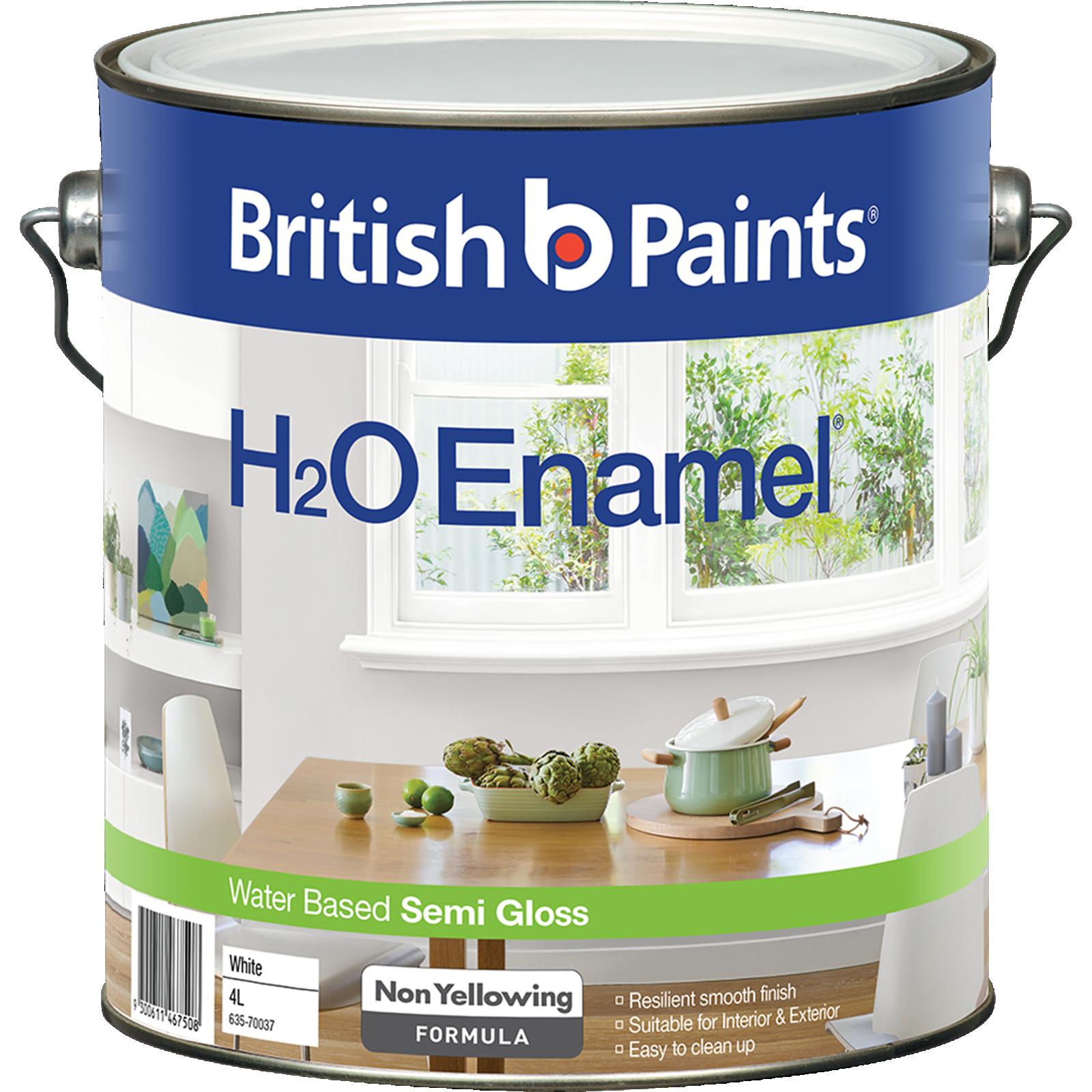 British Paints H2O 4L Semi Gloss White Enamel Paint