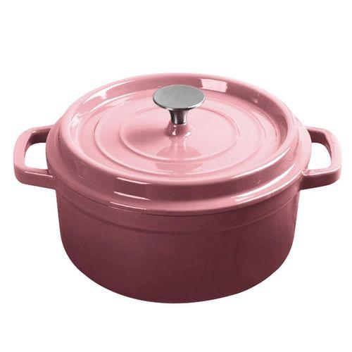 SOGA Cast Iron 3.6L Porcelain Casserole Stewpot Pink