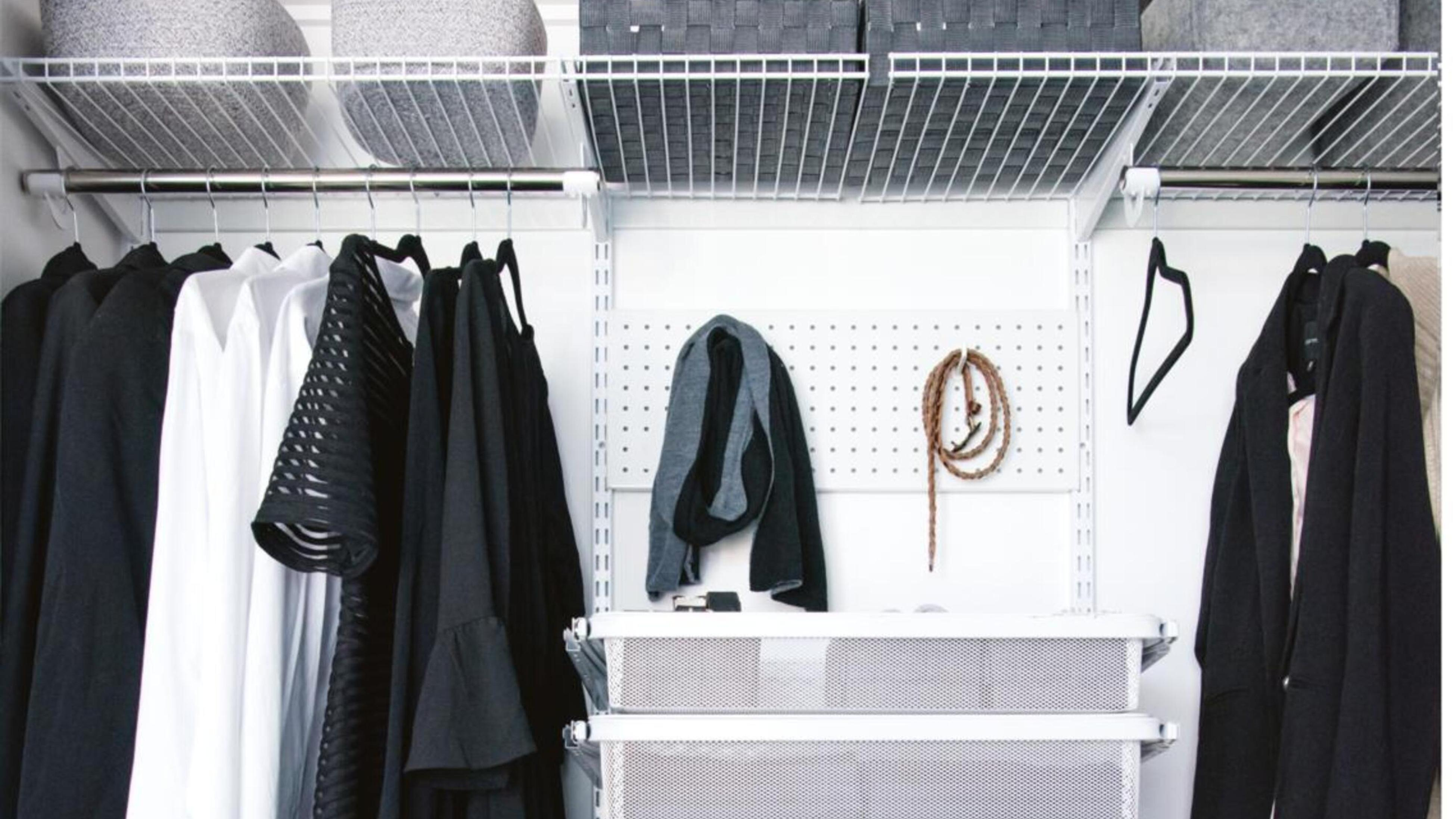 Wardrobe with containers and peg board