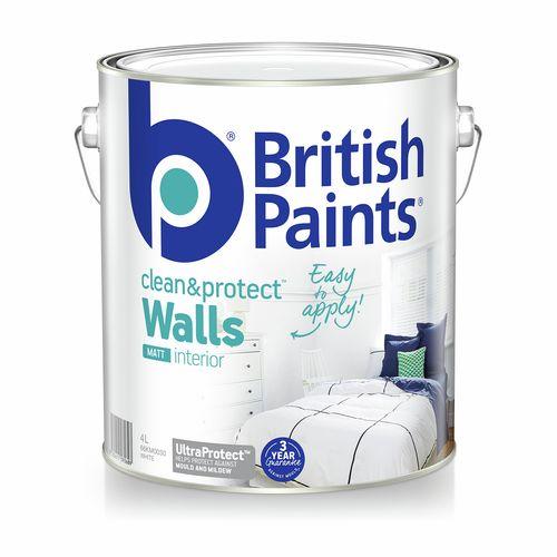 British Paints Clean And Protect Matt White Interior Paint - 4L