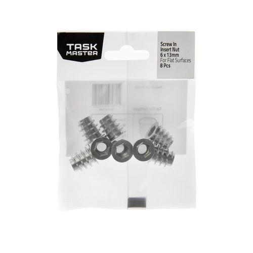 Taskmaster M6 x 13mm Screw-In Insert Nut Flat Surfaces - 8 Pack