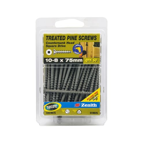 Zenith 10 - 8 x 75mm Treated Pine Countersunk Head Screws - 50 Pack