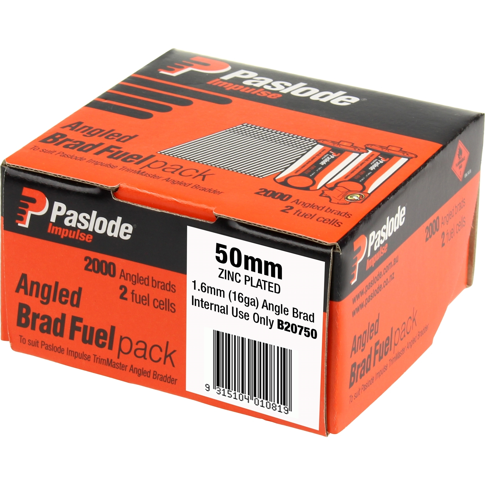 Paslode 50 x 1.6mm Impulse Zinc Plated Angled Brad Fuel - 2000 Pack