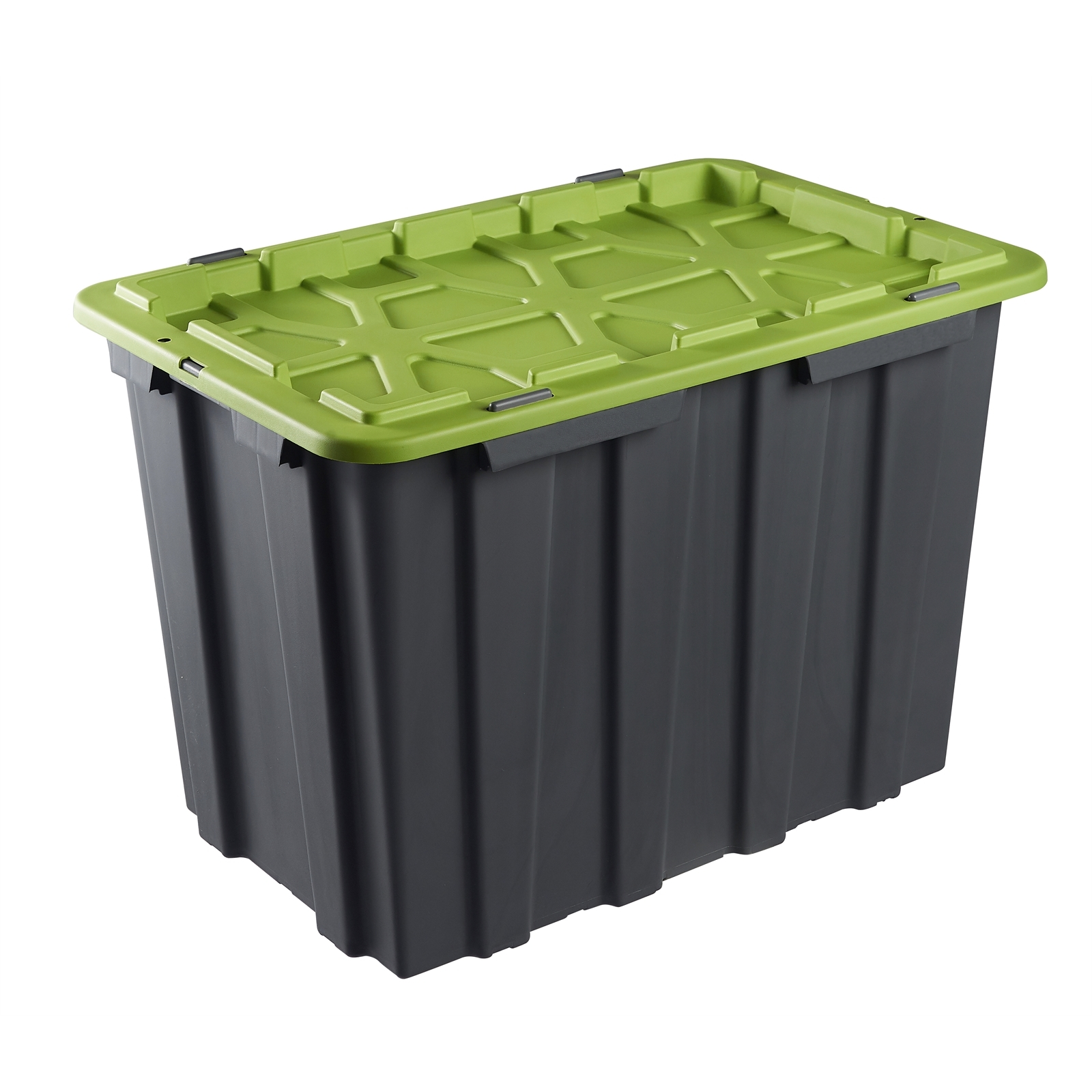Montgomery 80L Grey And Green Heavy Duty Storage Container With Clip Lid
