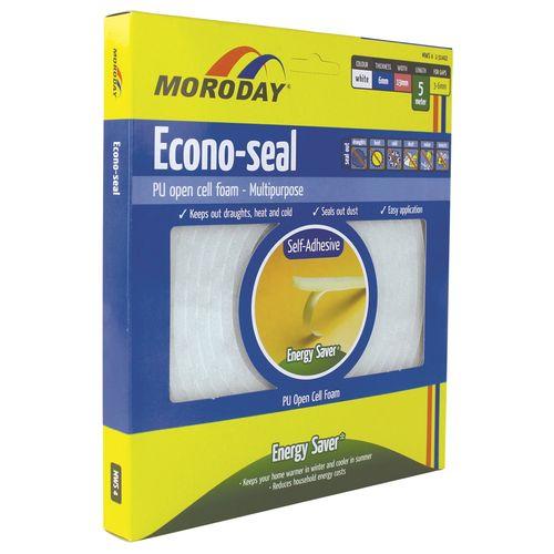 Moroday 6 x 19mm x 5m White Econo Weatherseal Tape