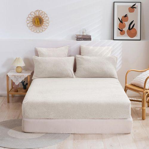 Dreamaker Tedding Fleece Fitted Sheet Set Cream