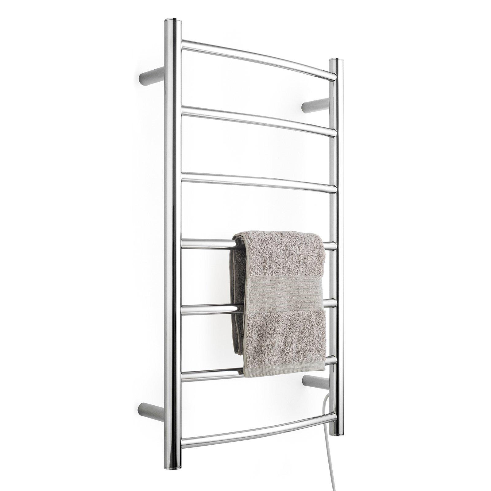 Arlec 7 Bar 65W Stainless Steel  Curved Heated Towel Rail