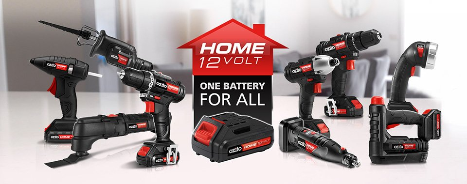 Ozito Home 12 Volt power tool range lined up. Text says Home 12 Volt- One battery for all