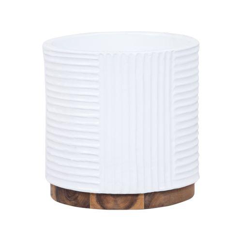 Lotus 23.5 x 23cm White Large Foot Cylinder Ribbed Ceramic Pot