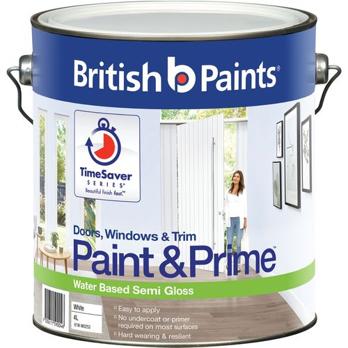 British Paints 4L White Semi Gloss Doors Windows And Trim Paint and Prime