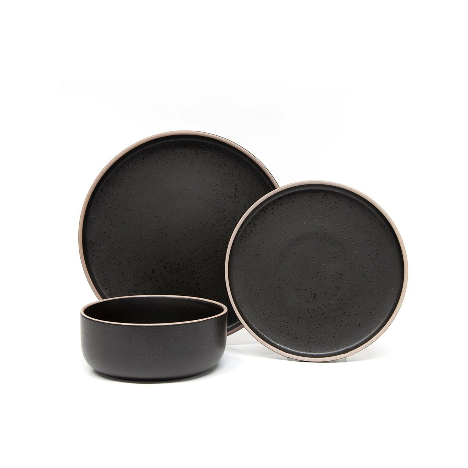 Salt & Pepper Hana 12 Piece Stoneware Dinner Set Black