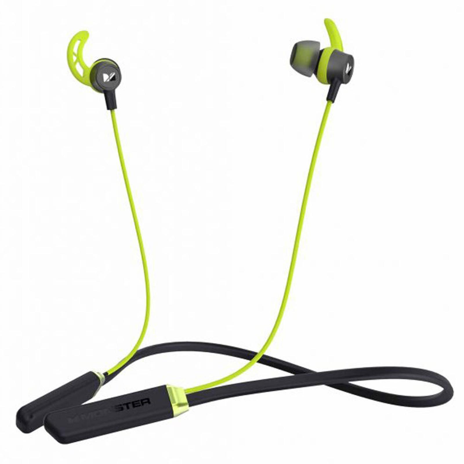 Monster iSport Solitaire Lite Bluetooth Wireless Sports Neckband Earphones Green