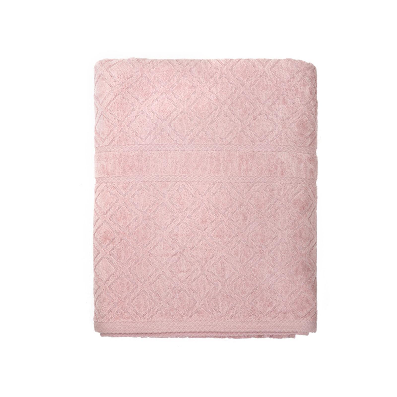 100% Premium Velour Diamond Design Set of 2  Jacquard Bath Towel - Pink 70 x 140 cm
