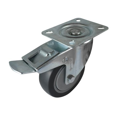 Easyroll 100mm 100kg Heavy Duty Grey Rubber Swivel Brake Castor 16014