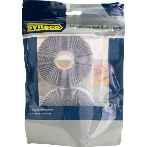 Syneco Adhesive Hook&loop Dots Syneco 20mm White 200 Pack H20200w