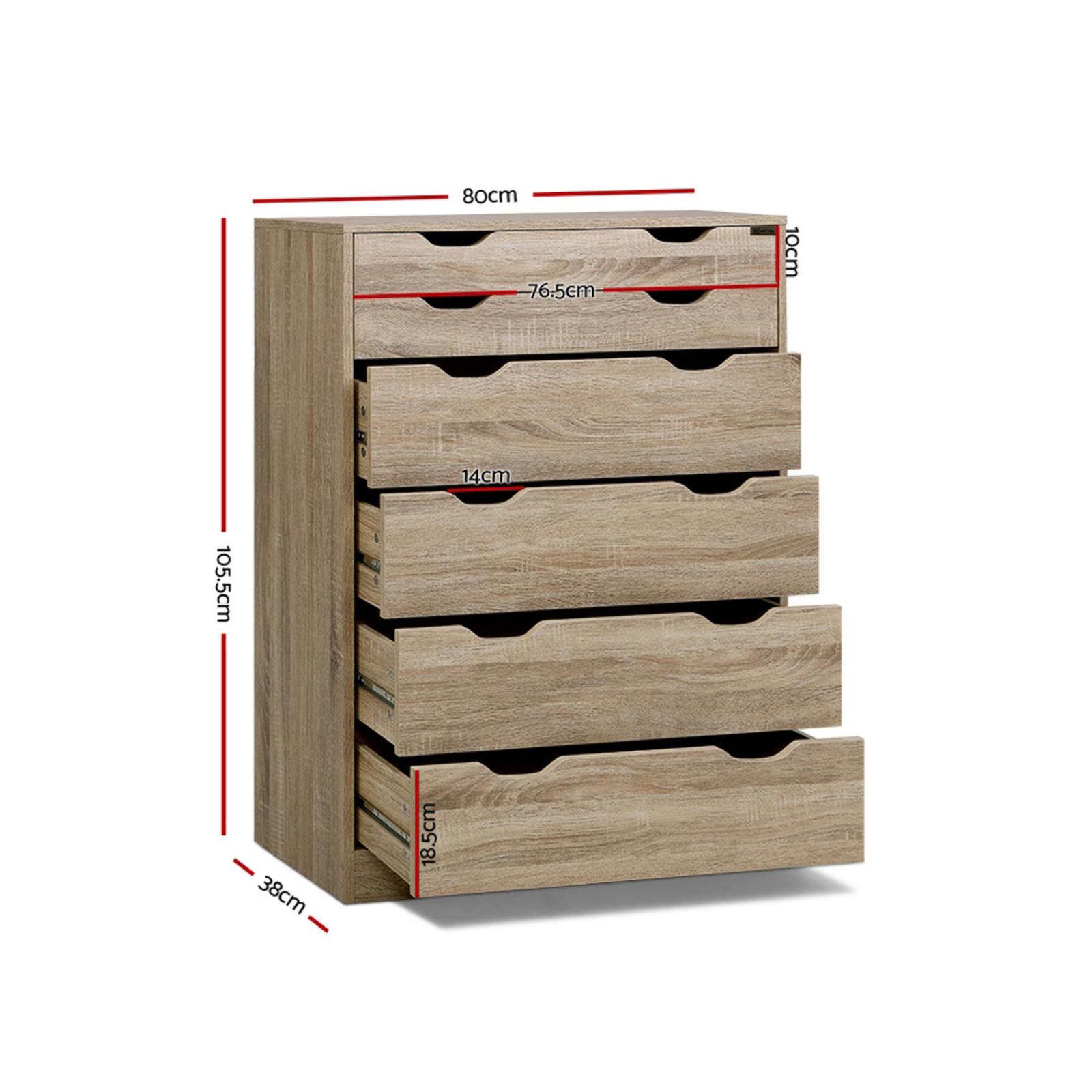 Artiss 6 Chest Of Drawers Tallboy Dresser Table Storage Cabinet Oak Bedroom Bunnings Australia