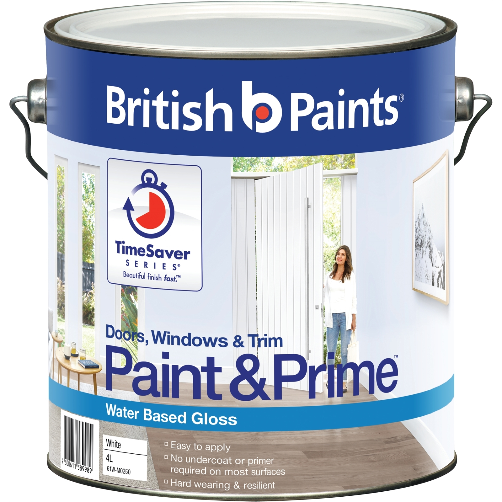 British Paints 4L Paint And Prime Gloss White Doors Windows And Trim Water Based Paint