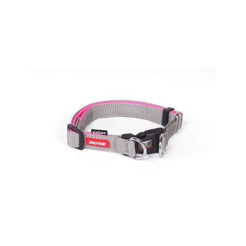 Kazoo Active Adjustable Nylon Dog Collar Silver & Pink Extra Large