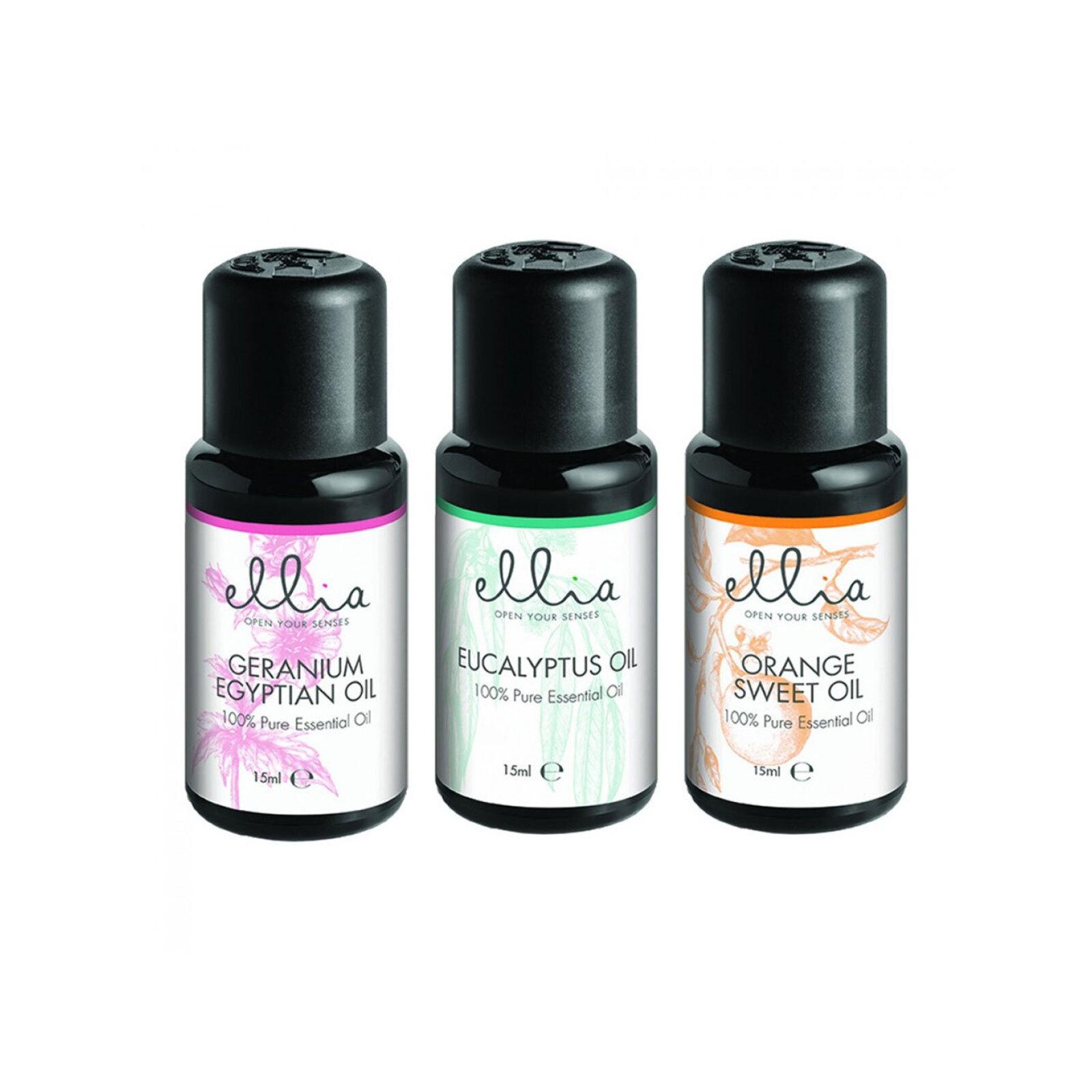 3pc Homedicsc Ellia 15ml Aroma Essential Oils/Scents Eucalyptus/Orange/Geranium