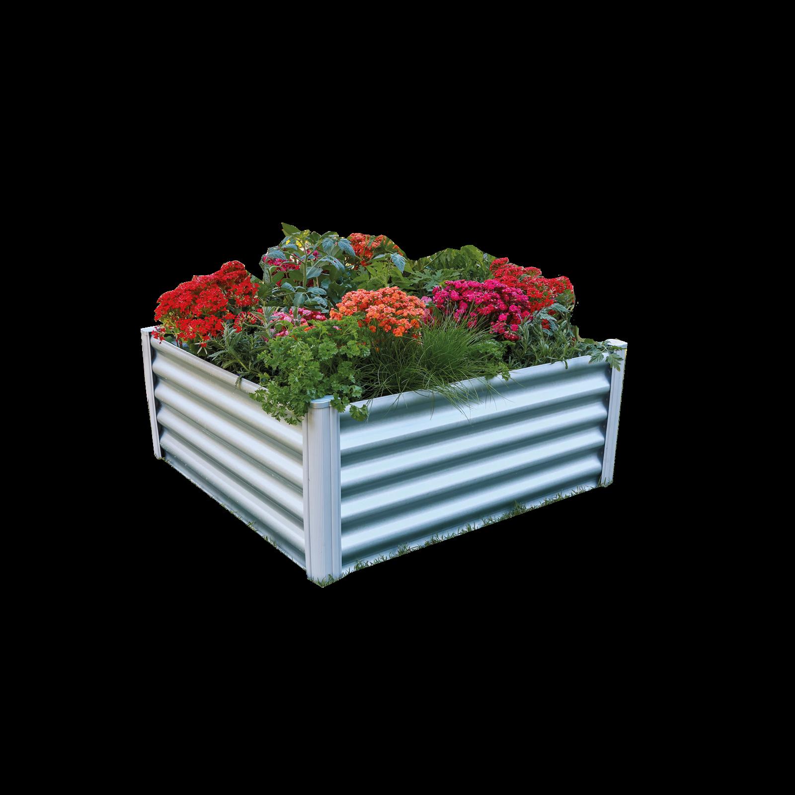 The Organic Garden Co 100 x 100 x 30cm Zincalume Square Raised Garden Bed