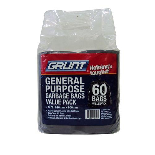 Grunt 620 x 900mm General Purpose Rubbish Bags - 60 Pack