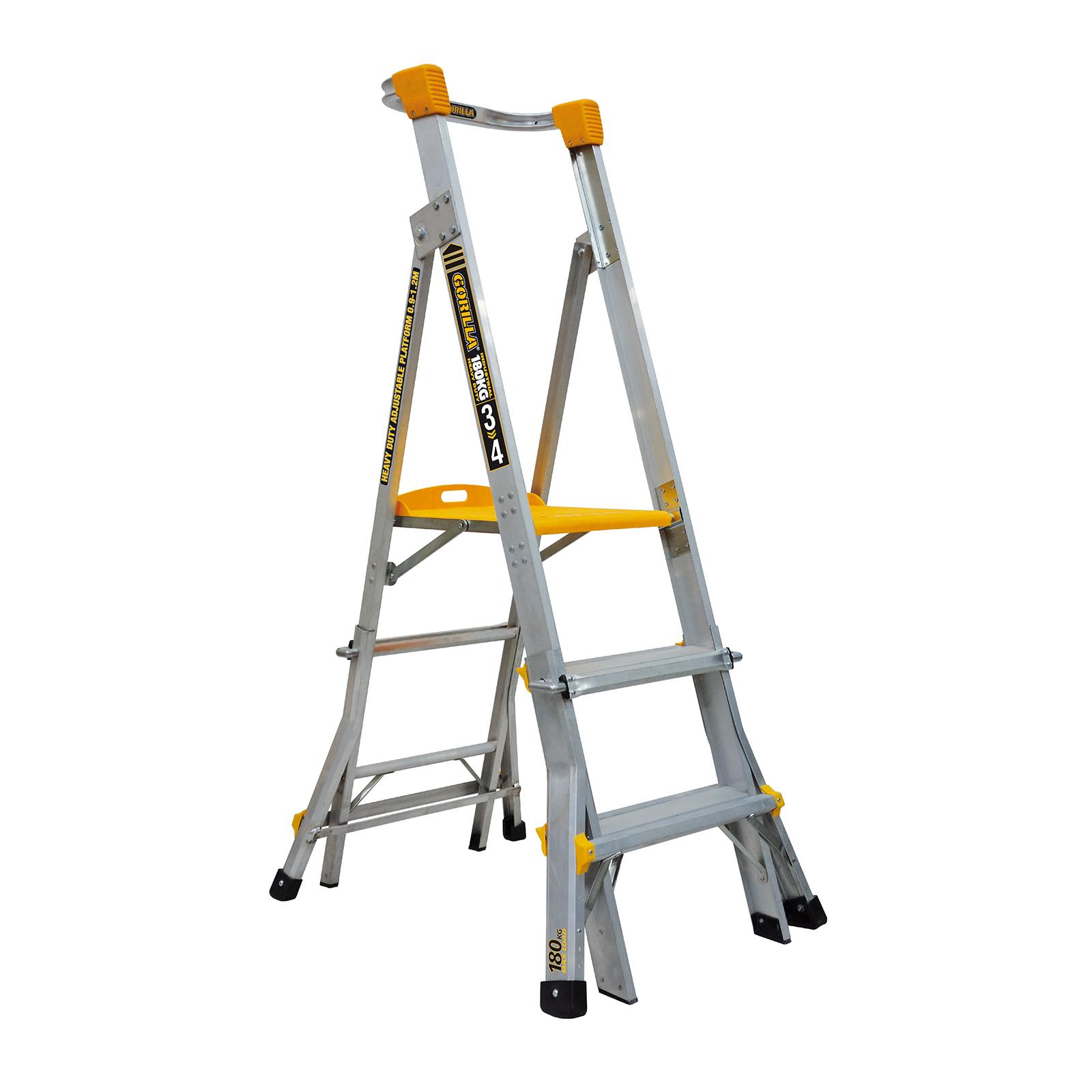 Gorilla 0.9-1.2m Heavy Duty Adjustable Aluminium Platform Ladder