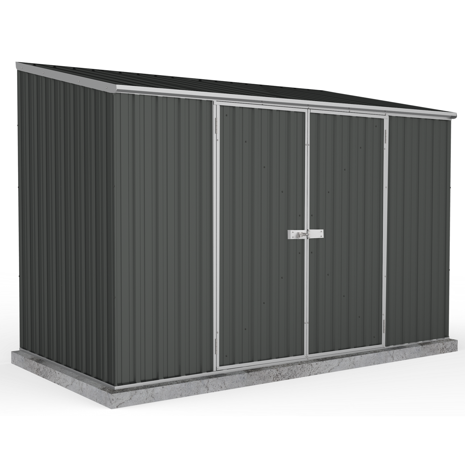 Absco Sheds 3.00 x 1.52 x 2.08m Space Saver Double Door Shed - Monument
