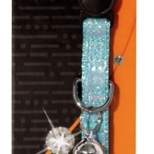 Cat Collar Blue Bling Sparkle with Breakaway Clip - 30cm x 10mm (Pet One)