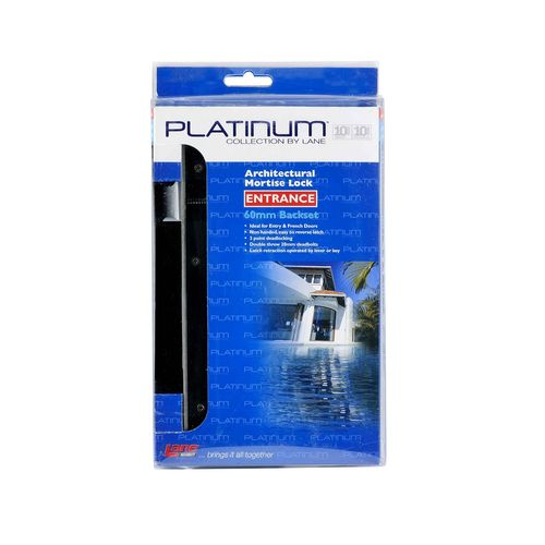 Lane Platinum Collection 60mm Backset Satin Stainless Steel Architectural Mortise Entrance Lock