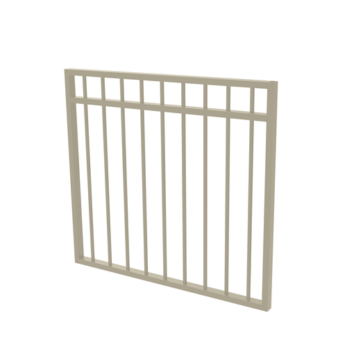 Protector Aluminium 975 x 900mm Double Top Rail All Up Garden Gate - To Suit Gudgeon Hinges - Paperbark