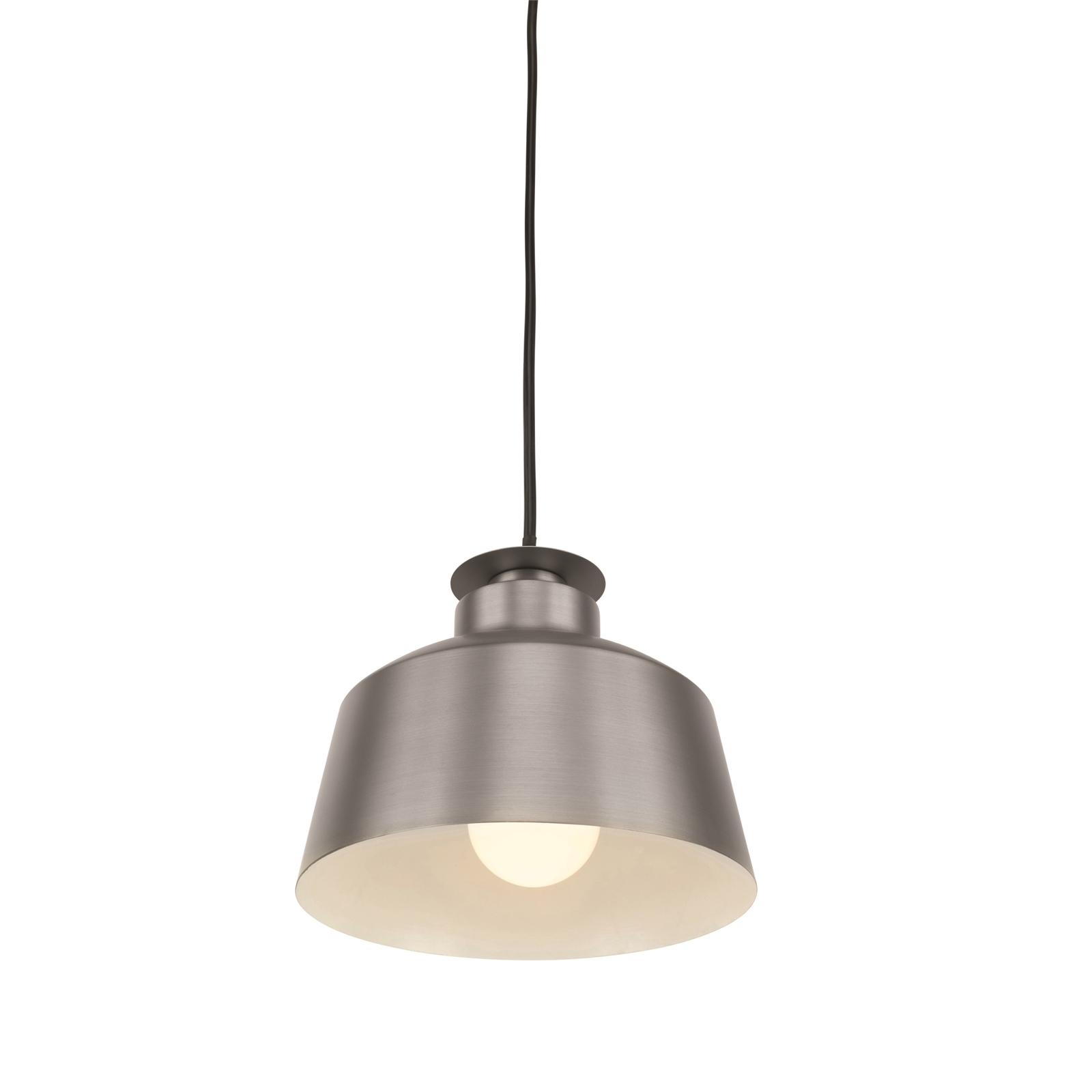 Brilliant 20cm Pewter Grey Metal Edie DIY Plug-In Lux Industrial Pendant Light