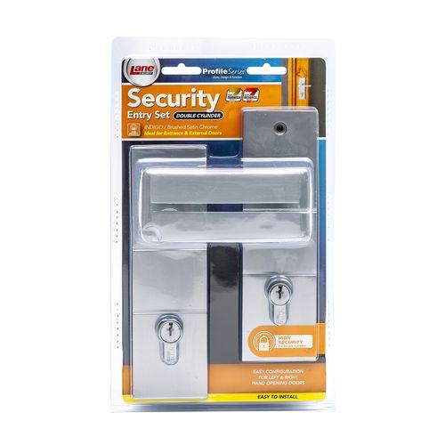 Lane Brushed Satin Chrome Indigo Double Cylinder Entrance Lockset