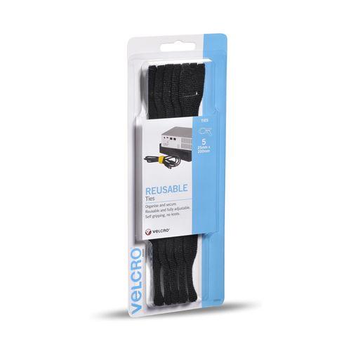 VELCRO® Brand  25 x 200mm Black Reusable Ties - 5 Pack