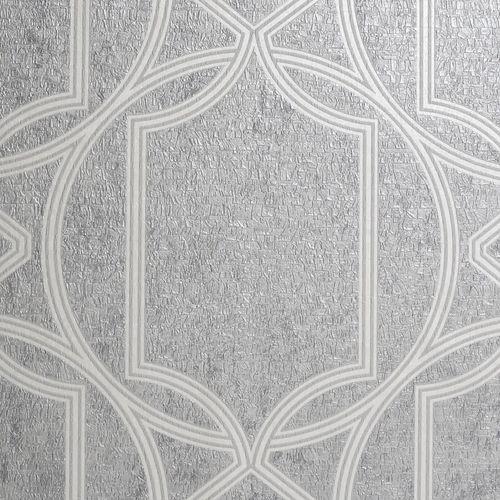 Boutique 1/2m Deco Geo Soft Grey  Wallpaper Sample