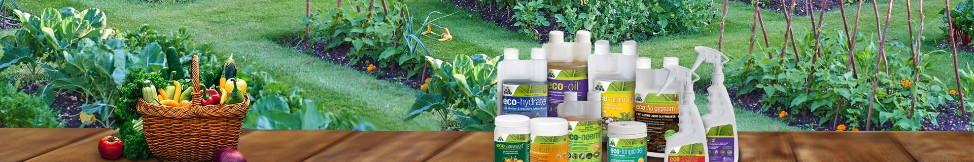 Garden with bottles of organic fertiliser and insecticides.