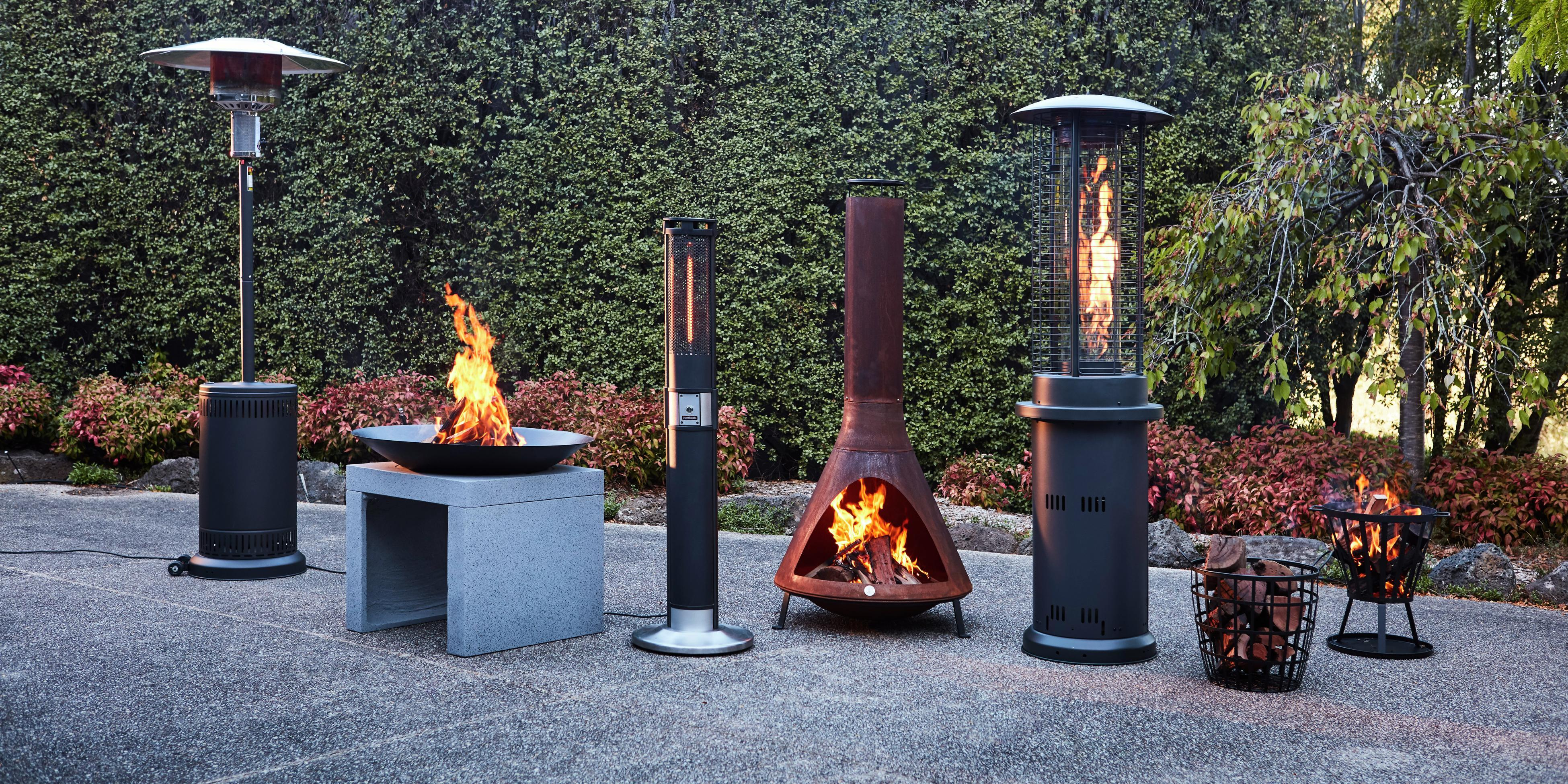 Various outdoor heaters outside