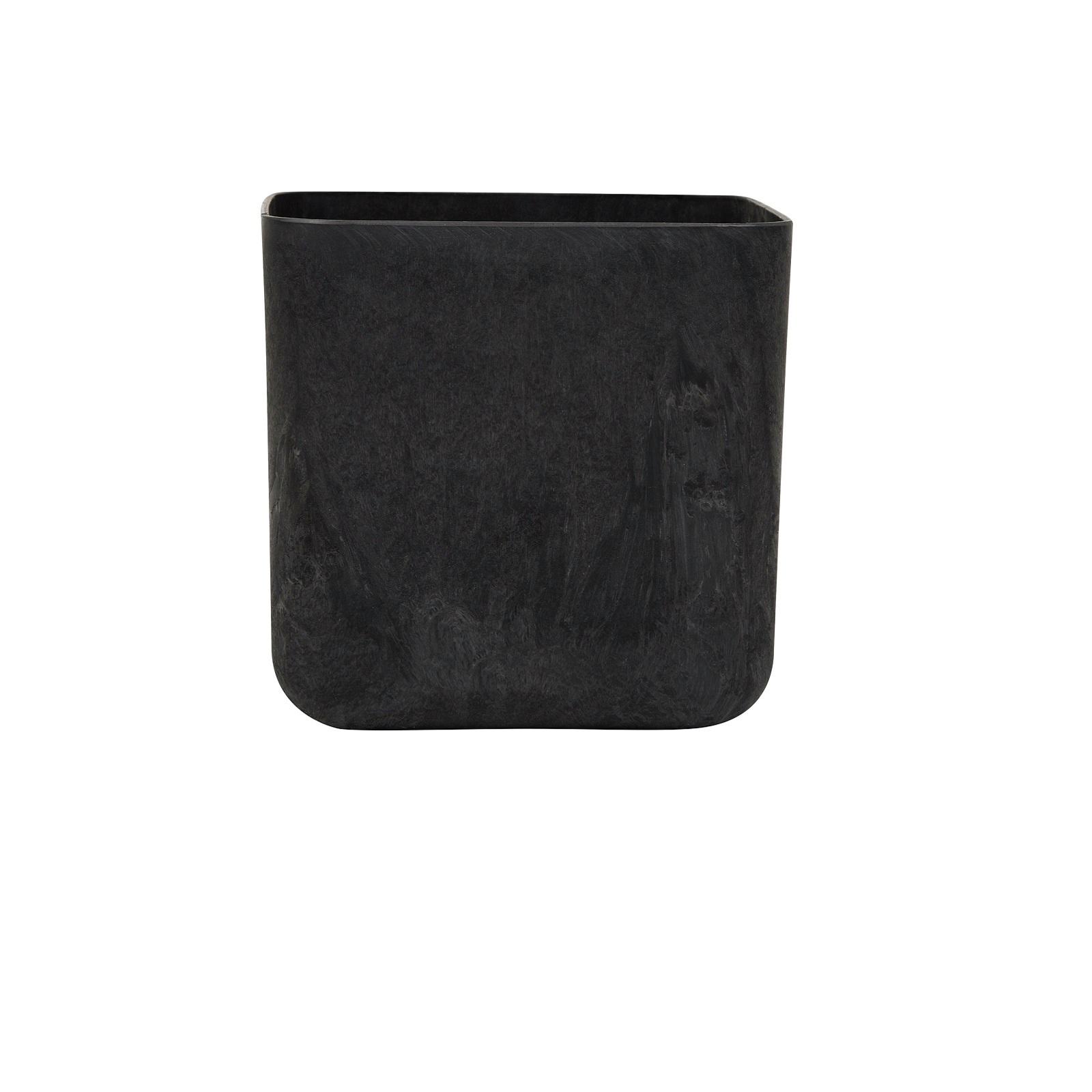 Tuscan Path Rubik Stone Art Pot - Black 200mm