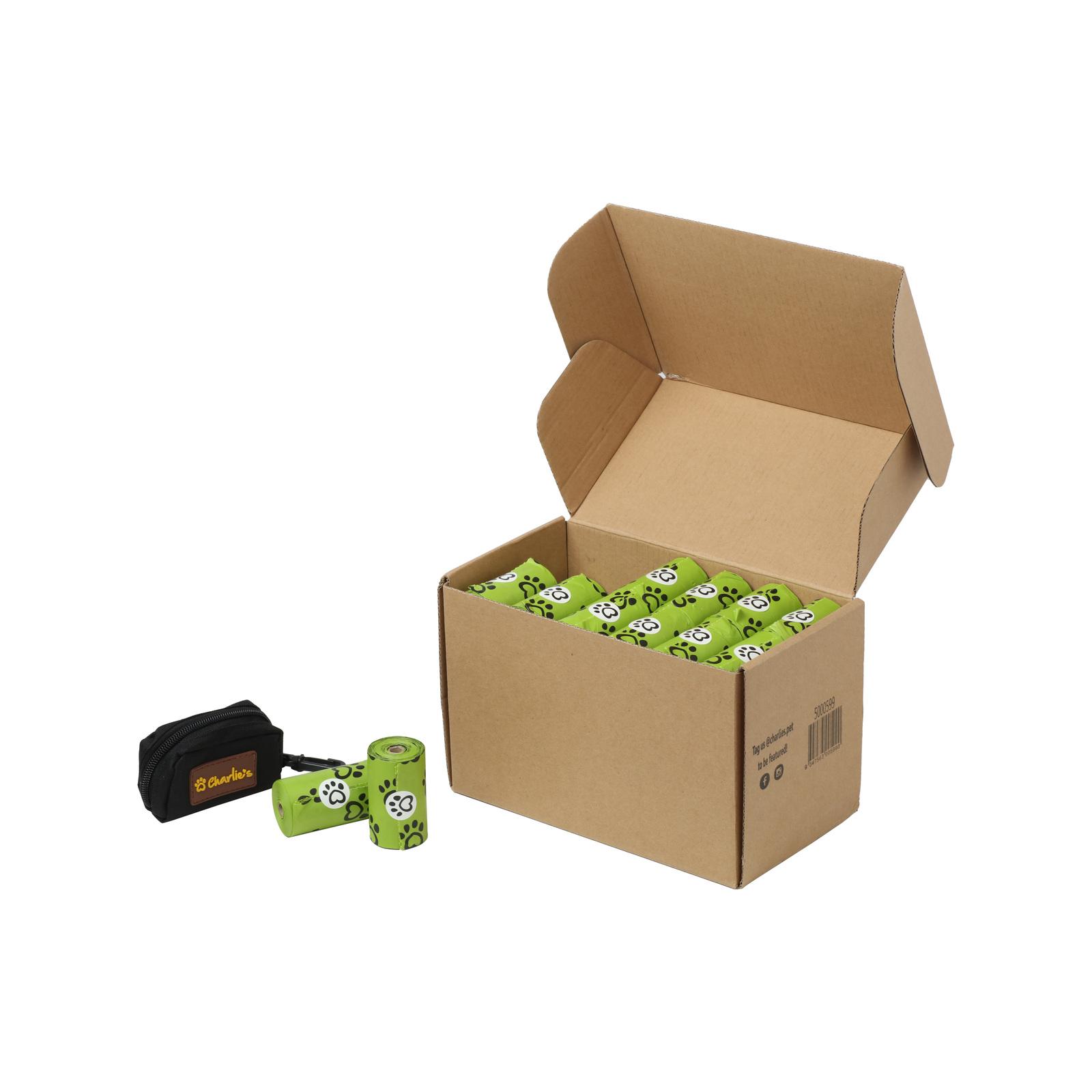Charlie's Pet Eco-Friendly Biodegradable Doggy Poop Bags & Pouch Dispenser Black -  960 Bags