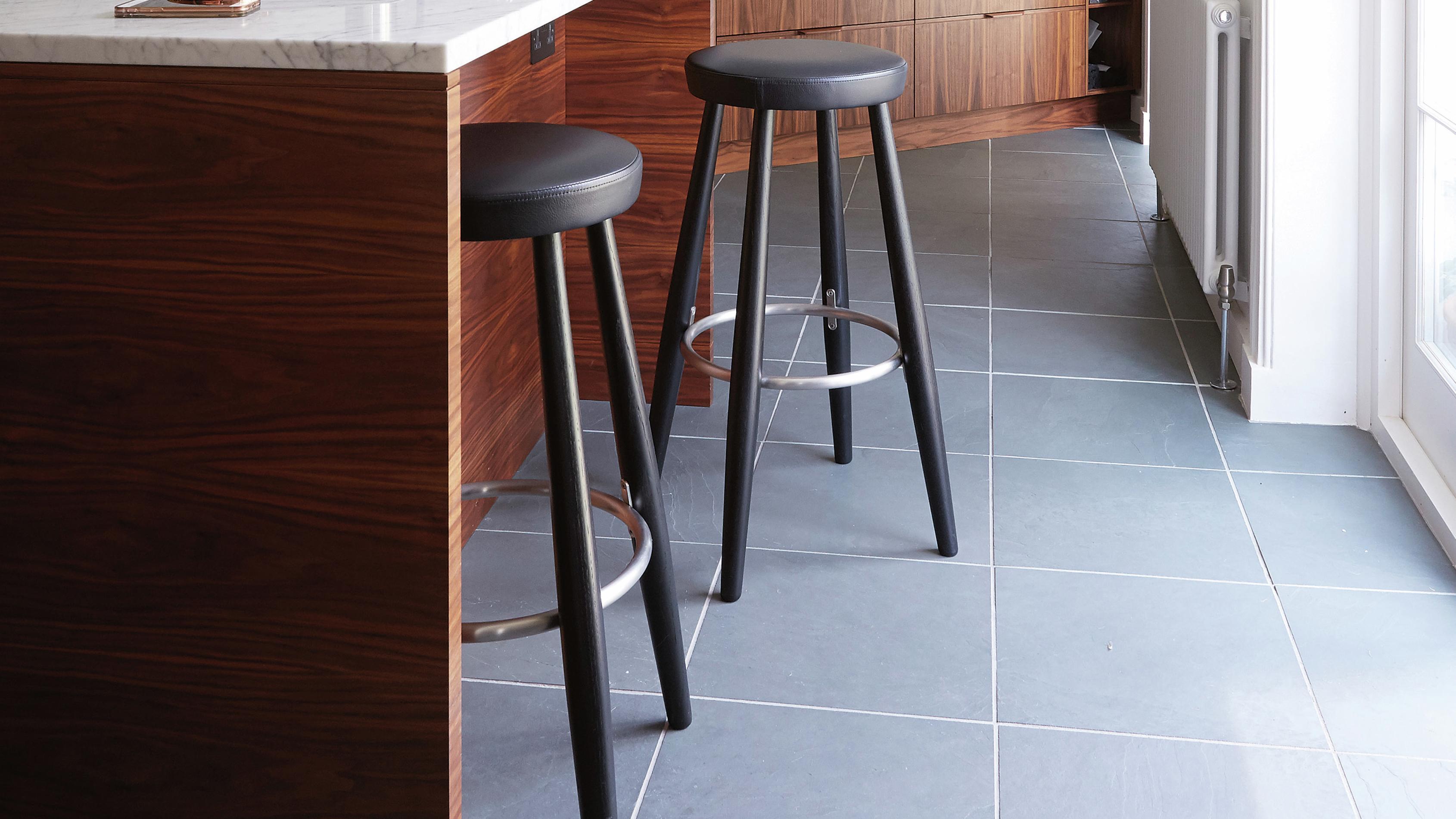 Grey ceramic tiles in a kitchen.