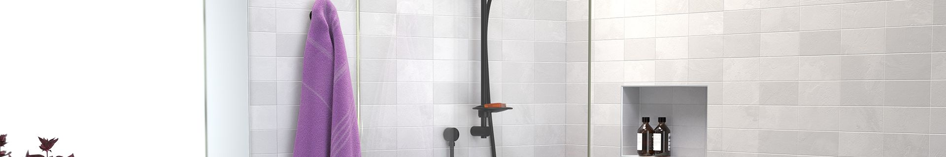 Shower with black tapware and shower recess