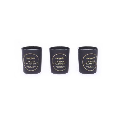 Marie Claire Jardin Champetre Fleur Votive Candle Set of 3 Black